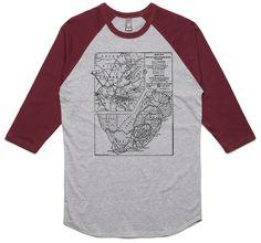 theIndie Old South African Map (Black) 3/4-Sleeve Raglan Baseball T-Shirt