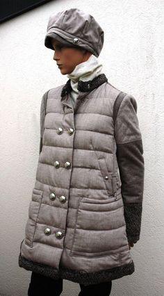 HIGH USE manteau doudoune beige 40 IMPRESS Daunenmantel Mantel jacke 36 hat