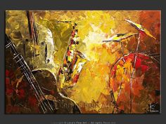 "musical instrument art | Music Art : Music Instruments painting ""Olive Jazz"""