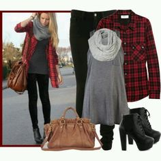 Love the flannel with it. But different shoes... heels aren't my kind of thing. :)