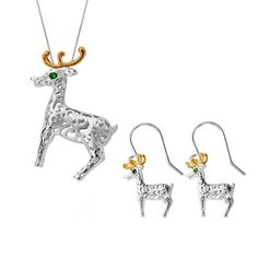 W Hamond Sterling Silver Yellow Gold Small ReindeerTwo Piece Set, A perfect gift for a loved one, this beautiful gift set featuresa patterned sterling silver reindeer with yellow gold plated antlers and green Cubic Zirconia eyes, giving a sparkly Christmas feel.Comprising of a pair of hook drop earrings, and necklace, complete with an 18 inch sterling silver chain. All items can be sold separately.Dimensions: Necklace: 28mm in height. All our silver jewellery is designed and crafted within Christmas Gift Sets, Christmas Wishes, Silver Jewellery, Jewelry, Two Piece Sets, Antlers, Sterling Silver Chains, A Team, Reindeer
