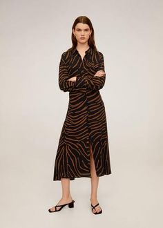 Mango Soepelvallende blouse met zebraprint - online shoppen - Fashionchick.nl Mango Presents, Decorative Knots, Zebra Print, Latest Fashion Trends, Printed Shirts, Wrap Dress, Coat, Blouse, Casual