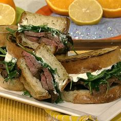 Michael Symon's Flank Steak with Grilled Potatoes and Arugula