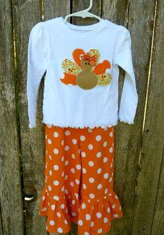 Girly Turkey Applique Shirt and Ruffle Pant Set. $35.00, via Etsy.
