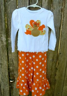 Girly Turkey Applique Shirt and Ruffle Pant Set by SugarThumb.