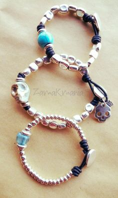 "#pulseras cuero con ""pepitas"" de #zamak #complementos #handmade jewelry #bracelet #handmade"
