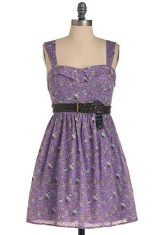 A sweet little print on this purple dress... I would probably ditch the belt, though.