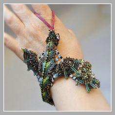 Green Dragon Bracelet - Baby Dragon Fantasy Beaded Cuff. $6,275.00, via Etsy.