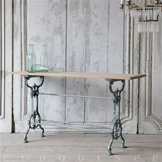 Eloquence® Antique French Chipped Teal Iron Wood Top Bistro Table   Kathy Kuo Home