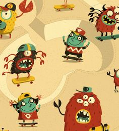 Djeco Monster Decals by Steve Simpson, via Behance