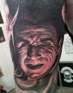 Bela Lugosi / Dracula Tattoo by Bob Tyrrell #InkedMagazine #dracula #tattoo #Portrait #tattoos #Inked #Ink