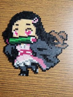 This is a perler made with mini beads! Its smaller but just as detailed as a regular sized perler Easy Perler Bead Patterns, Melty Bead Patterns, Perler Bead Templates, Diy Perler Beads, Pearler Beads, Pixel Art Objet, Grille Pixel Art, Pixel Art Anime, Hama Art