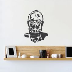 C3PO Decal Mural Graphic _ Star Wars Wallpaper Murals _ Star Wars c3po Bedroom Designs _ DIY Star Wars Decals _ Trendywalldesigns