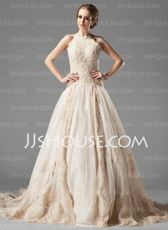 A-Line/Princess Halter Chapel Train Satin  Tulle Wedding Dresses with Lace  Beadwork (002000154)