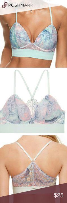 New Victorias Secret Pink bra medium lace triangle New in baggie, size medium, lace lightly lined triangle in watercolor print Victoria's Secret Intimates & Sleepwear Bras