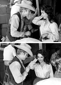 Elizabeth Taylor & James Dean on the set of Giant (1956)