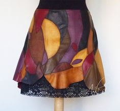 Leather Skirt Above the Knees, Unique Extravagant Women's Clothing, Low waist, Patchwork Leather Photo Albums, Leather Gifts, Different Patterns, Cotton Lace, Black Silk, Decoration, Tie Dye Skirt, Leather Skirt, Unique Gifts