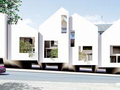 Bondi Beach Houses by James Seung Hwan Kim Social Housing Architecture, Facade Architecture, Minimalist Architecture, Contemporary Architecture, Terraced House, Townhouse Designs, Bondi Beach, Facade Design, Facade House