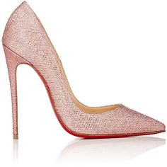"Christian Louboutin's So Kate pumps are crafted of pink glitter mesh. 4.75""/120mm heel (approximately). Pointed toe. Self-covered stiletto heel. Slips on. Lin…"