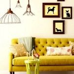 Couch, Lamps, Frames.