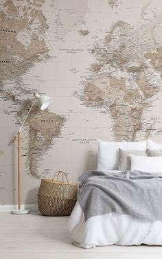 ★★★★★ Earth Tone World Map Mural Wallpaper - Give your home a classic, intriguing look by incorporating world map wallpaper. Our range of world m - World Map Bedroom, World Map Mural, World Map Decor, World Map Wallpaper, World Map For Wall, Travel Bedroom, Wallpaper Earth, Bedroom Wallpaper, Deco Design
