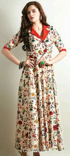 Printed kurti designs - 455563 Beige and Brown color family Long Kurtis in Faux Georgette fabric with Printed work Kurta Designs Women, Salwar Designs, Long Kurta Designs, Latest Kurti Designs, Ladies Kurti Design, Dress Neck Designs, Blouse Designs, Long Kurtis Online, Printed Kurti Designs