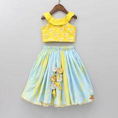Pre Order: Blue And Yellow Shibori Ghagra Indian Dresses For Kids, Dresses Kids Girl, Kids Indian Wear, Big Girl Clothes, Designer Dresses For Kids, Baby Dresses, Kids Outfits, Kids Dress Wear, Kids Gown