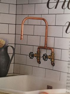 Industrial Style Bathroom Faucet - Industrial Style Bathroom Faucet, 51 Industrial Style Bathrooms Plus Ideas & Accessories You Copper Pipe Taps, Copper Faucet, Bad Inspiration, Bathroom Inspiration, Bathroom Faucets, Small Bathroom, Kitchen Faucets, Kitchen Fixtures, Sinks