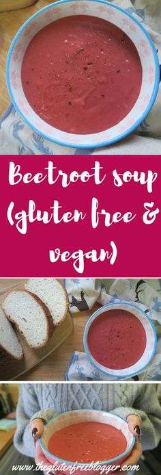 Gluten free beetroot soup recipe - dairy free soup - vegan soup - www.theglutenfreeblogger.com