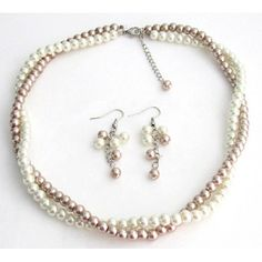Ivory Champagne Pearls Twisted Pearl Necklace Set Wedding jewelry Bridesmaid Flower Girl Maid OF HonorShippijng In US