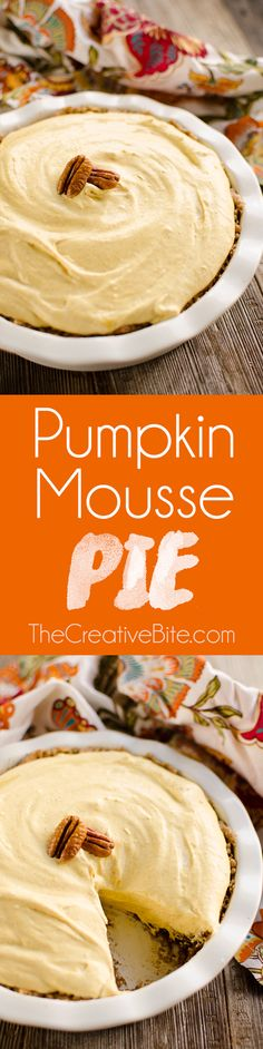 Pumpkin Mousse Pie is a decadent fall dessert with a pecan crust and creamy pumpkin spice filling perfect for your next holiday meal.