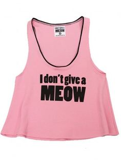 """Women's """"I Don't Give A Meow"""" Cropped Tank by Jessica Louise (Pink)"""