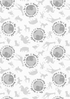 Gray Baby Fabric, Lewis & Irene, Welcome To The World Wild Animals and Planet Earth Baby Quilt Fabric, Cotton Wild Animal World, Wild Animals, Free Pattern Download, Dressmaking Fabric, Baby Fabric, Toddler Quilt, Cotton Quilts, Fabric Online, Little Miss