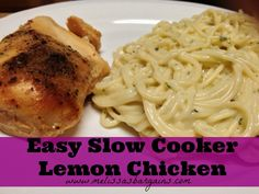 Easy Slow Cooker Lemon Chicken - only 3 ingredients and 5 minutes to prep! Sub my own seasoning for italian dressing packets Slow Cooker Recipes, Crockpot Recipes, Chicken Recipes, Cooking Recipes, Healthy Recipes, Healthy Food, Advocare Recipes, Advocare Diet, Advocare Challenge