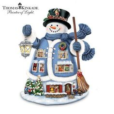 "Thomas Kinkade ""The Night Before Christmas"" Storytelling Snowman Figurine by The…"