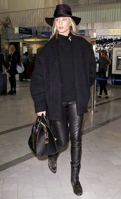 How to Wear All Black Like Rosie Huntington-Whiteley This Fall via @WhoWhatWear