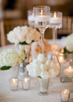 Candlelight Wedding Ceremony Ideas_Glass Stem Vase - love the simplicity of a few of these combinations