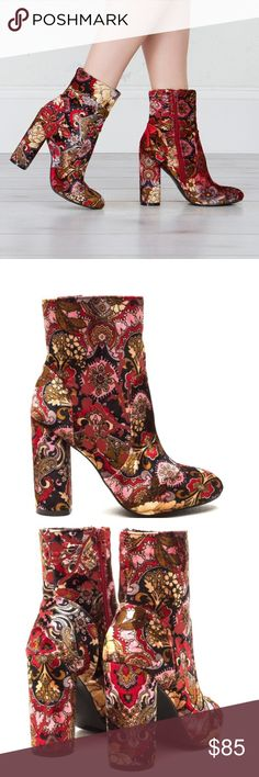 Bold Velvet Floral Ankle Booties RUNS A HALF SIZE SMALL* Available in Sizes 6, 6.5, 7, 7.5, 8, 8.5, 9, 10 New in box.  Bold floral ankle boot. Directly inspired by runway trends. Velvet floral print. Almond shaped toe box. Chunky 4.25 inch heel.   🏷Bundle discount: 10% off 2+ items.  💌I typically ship within 1-2 business days (Monday-Friday). clmayfae Shoes Ankle Boots & Booties