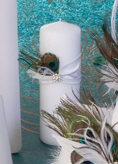Peacock Unity Candle sold at bridalboutiquebr.com