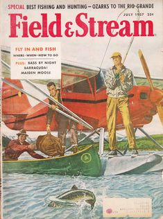 July 1957 Field & Stream magazine cover illustrated by Raphael Cavaliere. #vintage #magazine #fishing