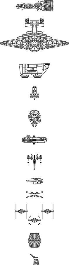 star wars tattoo ideas   kleine und große schwarze fliegende star wars raumschiffe