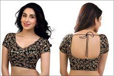 Blouse Back Neck Designs - Black Zari Blouse Back Neck Design