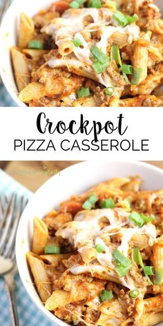 Crock Pot Pizza Casserole is an easy weeknight dinner recipe everyone LOVES! A Simple and delicious pasta dish every time--and your slow cookers does all the work! It's even great leftover for lunch the next day! Pizza Casserole, Easy Casserole Recipes, Easy Dinner Recipes, Pizza Recipes, Lunch Recipes, Crock Pot Slow Cooker, Slow Cooker Recipes, Crockpot Recipes, Pork Recipes