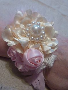 Wedding Brides Maides Fabric Flower Corsage, Bracelet, Pearls, Feathers Cream with Pink Silk Stretch band