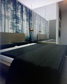 #bedroom #dark #forest #sypialnia #wizualizacja #fototapeta #interior #interiordesign #bed #ikeabed #project