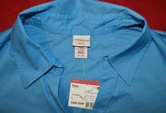 Tropical Blue Women's Plus Size COVINGTON WOMAN STRETCH Shirt 24-26W NWT #Covington #ButtonDownShirt #CasualCareer
