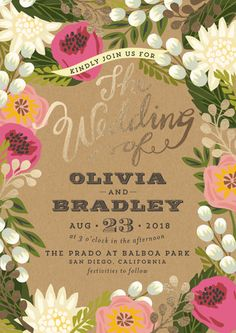 """""""Floral Canopy"""" - Floral & Botanical, Rustic Foil-pressed Wedding Invitation Petite Cards in Peony by Griffinbell Paper Co.."""