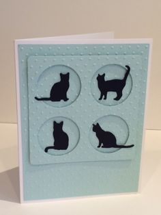 Notecard  Cat Silhouettes  Blue by BellissimaCardshop on Etsy
