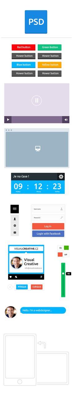 FREE flat UI kit #free #flat #ui #design #psd