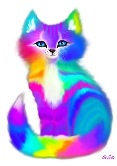 Fluffy Rainbow Kitten by Nick Gustafson